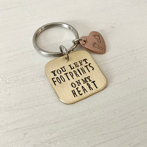 You Left Footprints on my Heart Keychain - SoulCysterCreations