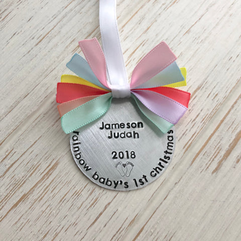 Rainbow Baby's First Christmas Ornament