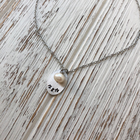 Hand Stamped Mom Necklace - SoulCysterCreations