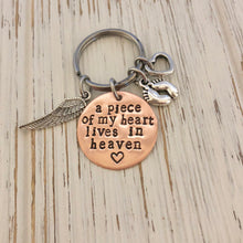 Load image into Gallery viewer, A piece of my Heart Lives in Heaven Keychain