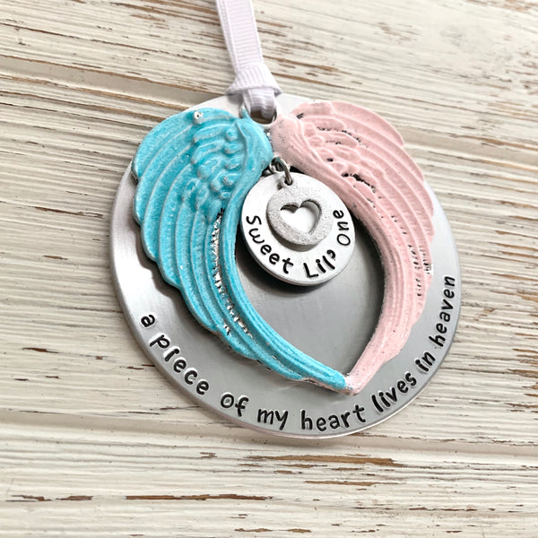 Pregnancy Loss Colors Angel Wings Ornament - SoulCysterCreations