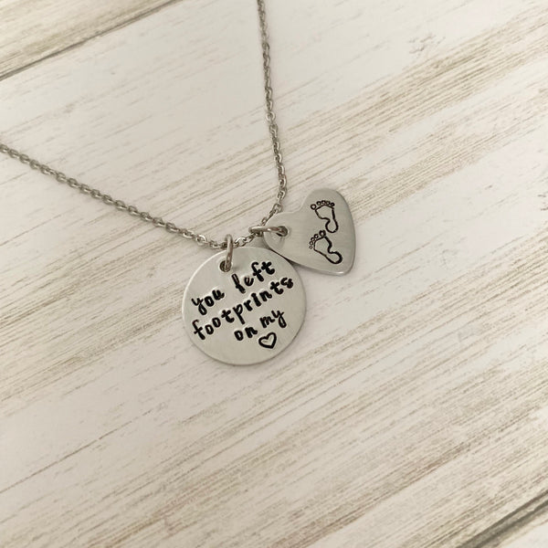 You Left Footprints on my Heart Necklace - SoulCysterCreations