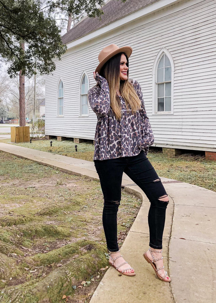 Leopard Flowy Top - FINAL SALE