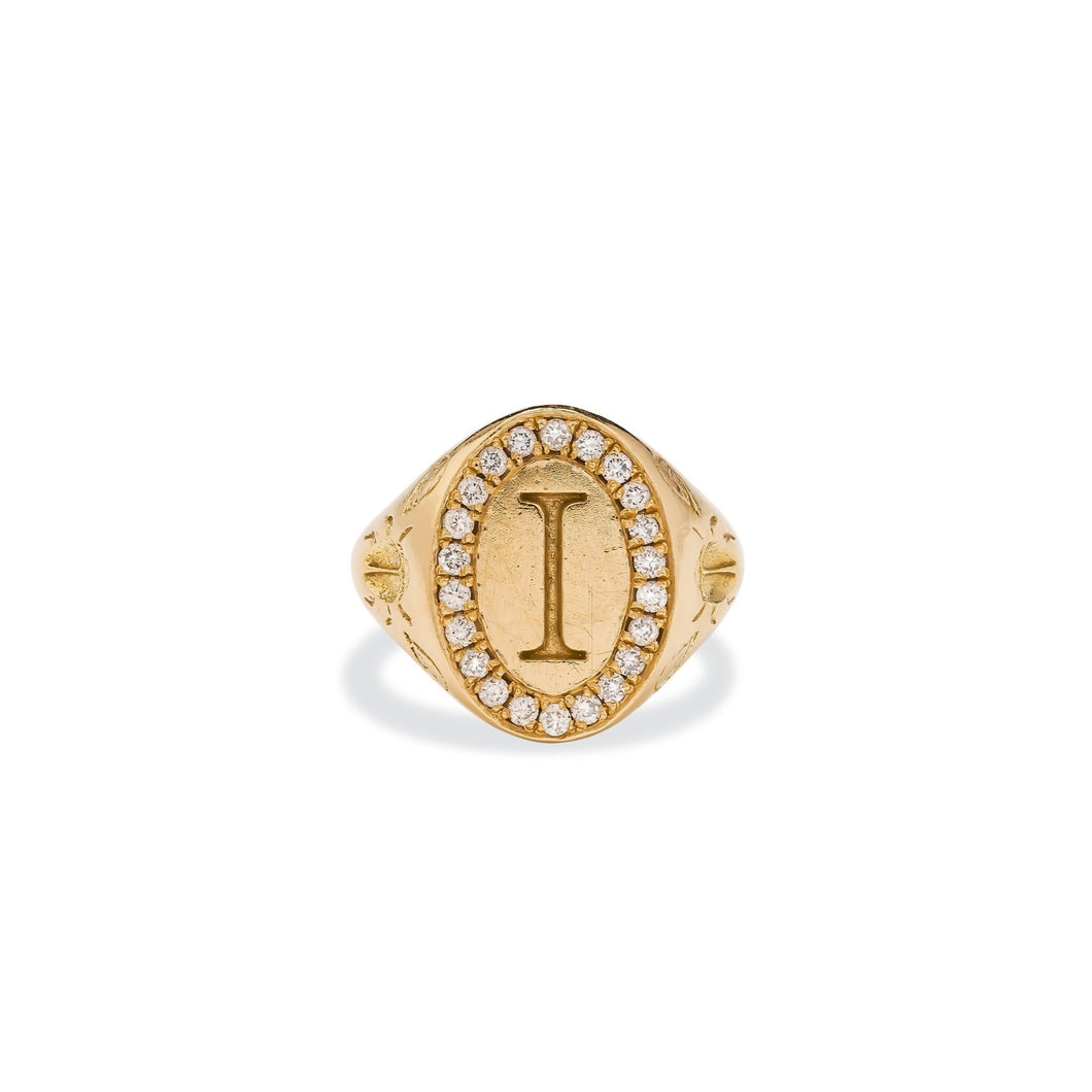 Scarab Signet Ring - with Diamonds