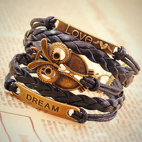 Big Eye Owl Leather Bracelet - rave owls