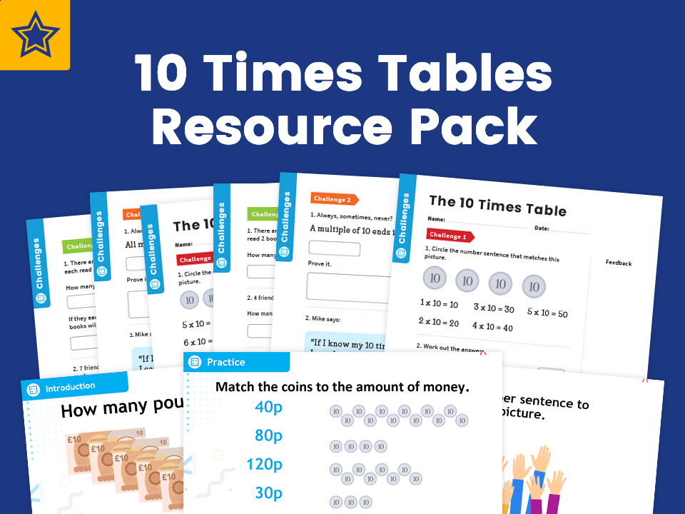 10 Times Table Resource Pack: Teaching, Practising And Investigating – PowerPoint And Activity Worksheets