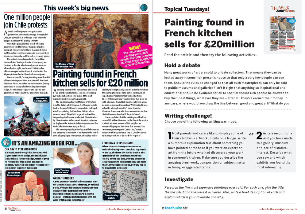 Topical Tuesdays from The Week Junior – Found Painting Sells for £20m