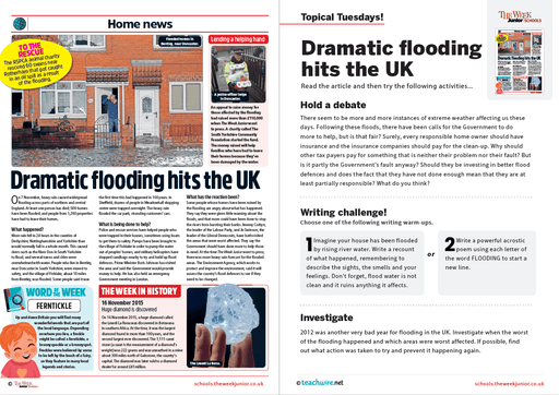 Topical Tuesdays from The Week Junior – Dramatic Flooding