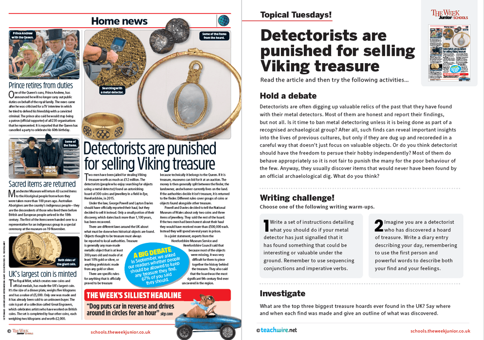 Topical Tuesdays from The Week Junior – Viking Treasure Stolen