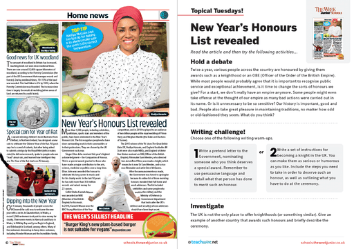 Topical Tuesdays from The Week Junior – New Year's honours