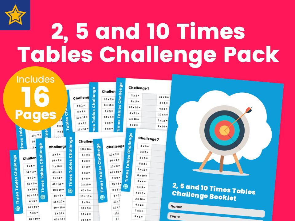 2, 5 and 10 Times Tables Challenge Pack