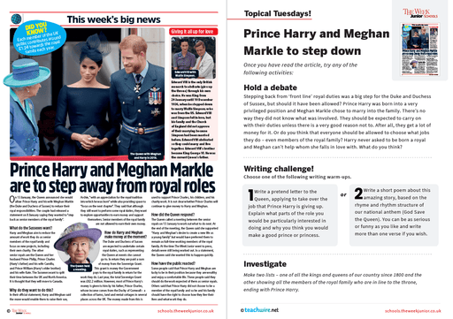 Topical Tuesdays from The Week Junior – Meghan Markle and Prince Harry step down