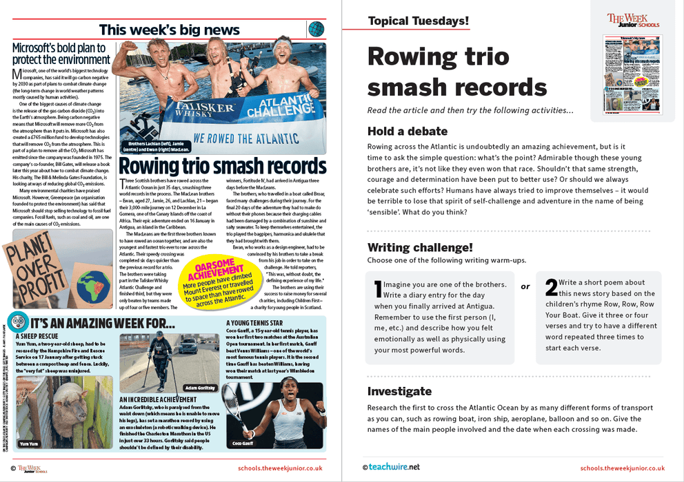 Topical Tuesdays from The Week Junior – Atlantic Ocean rowing record smashed