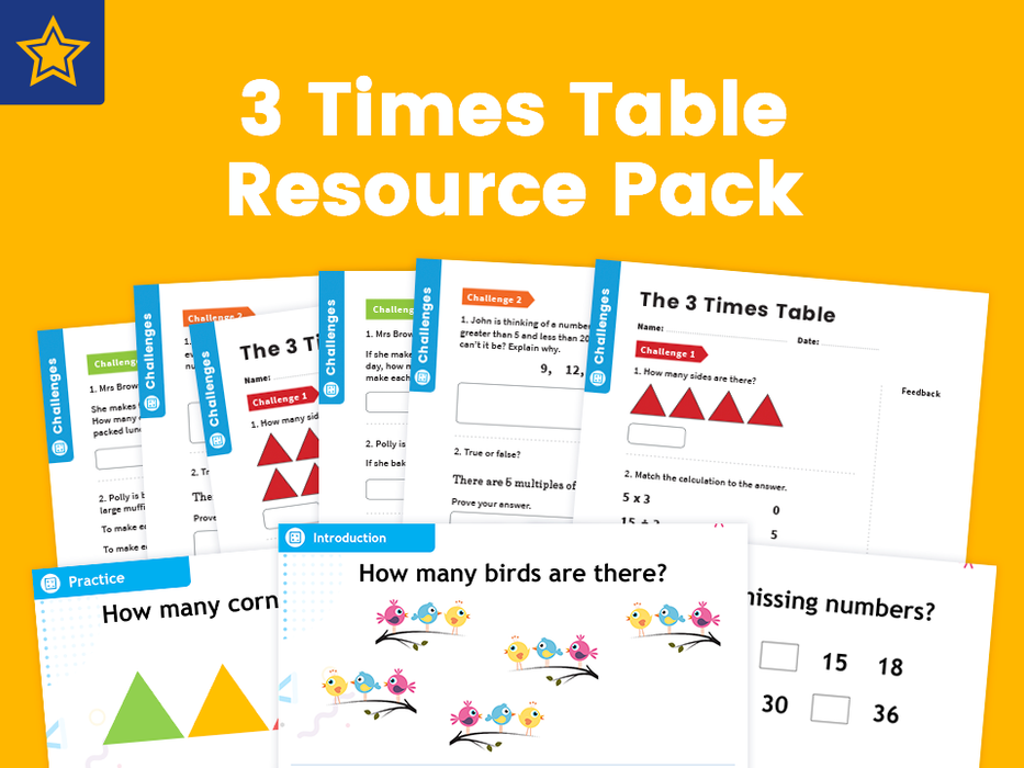 3 Times Table Resource Pack: Teaching, Practising And Investigating – PowerPoint And Activity Worksheets