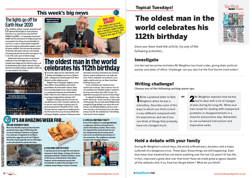 Topical Tuesdays from The Week Junior – World's Oldest Man