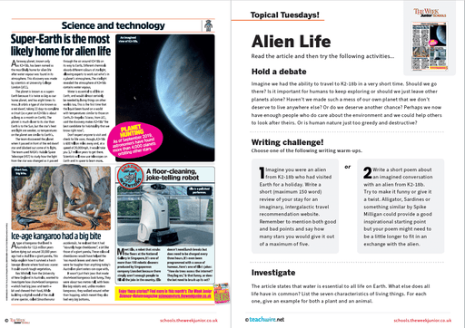 Topical Tuesdays from The Week Junior – Alien Life