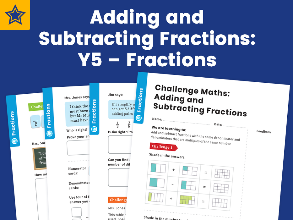 Adding and Subtracting Fractions: Y5 – Fractions – Maths Challenge