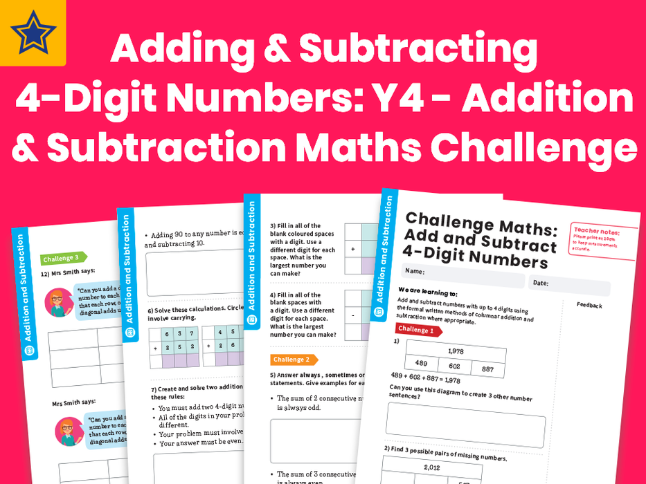 Adding And Subtracting 4-Digit Numbers: Y4 - Addition And Subtraction - Maths Challenge