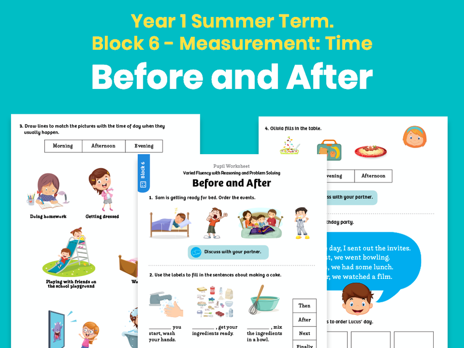 Y1 Summer Term – Block 6: Before and after maths worksheets