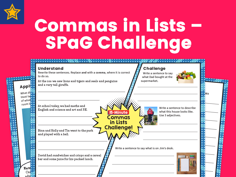 Commas in Lists – SPaG Challenge Mat