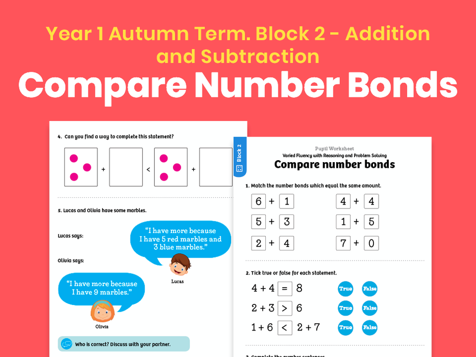Y1 Autumn Term – Block 2: Compare number bonds maths worksheets