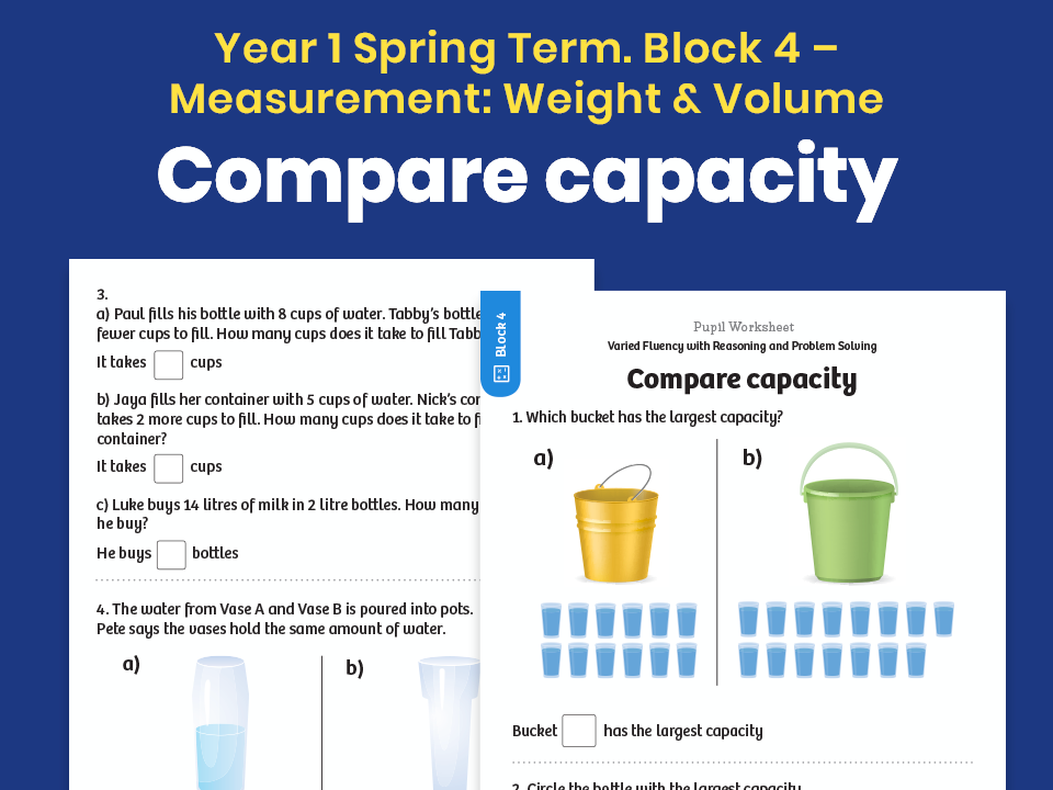 Y1 Spring Term – Block 4: Compare capacity maths worksheets
