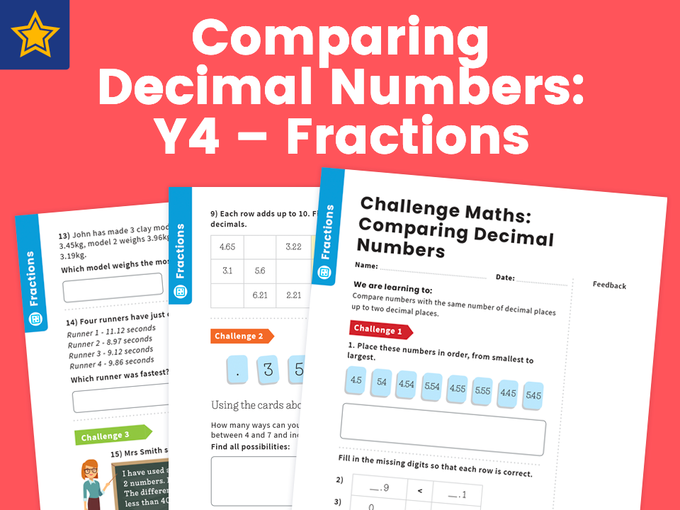 Comparing Decimal Numbers: Y4 – Fractions – Maths Challenge