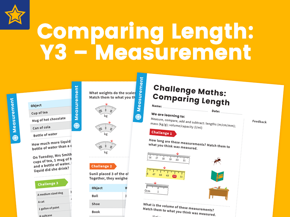 Comparing Length: Y3 – Measurement – Maths Challenge