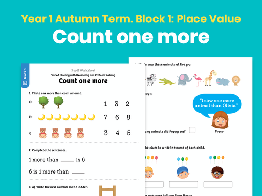 Y1 Autumn Term – Block 1: Count one more maths worksheets