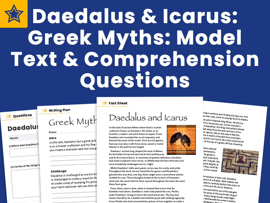 Daedalus and Icarus: Greek Myths: Model Text and Comprehension Questions