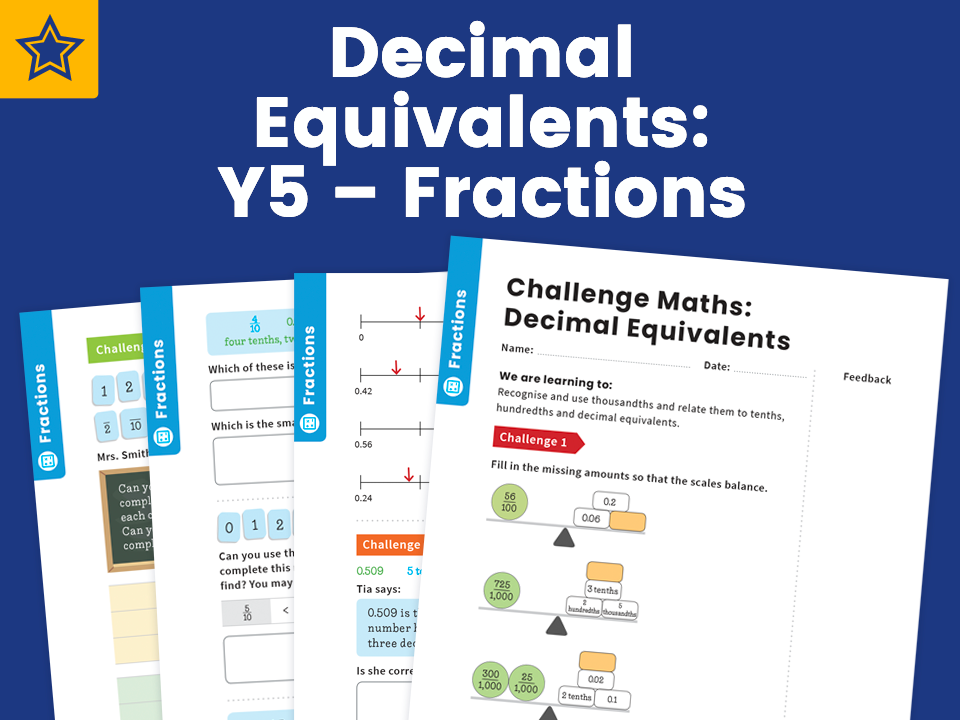 Decimal Equivalents: Y5 – Fractions – Maths Challenge