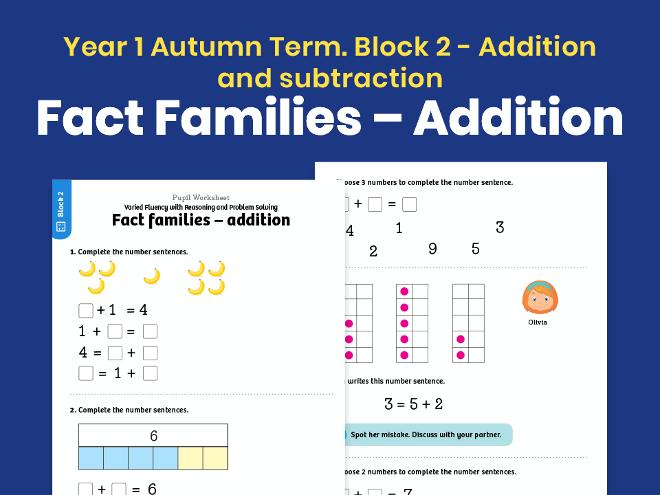 Y1 Autumn Term – Block 2: Fact families – addition maths worksheets