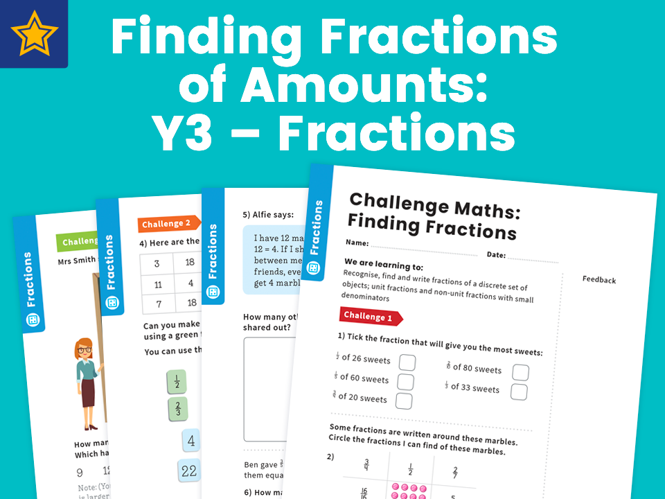 Finding Fractions of Amounts: Y3 – Fractions – Maths Challenge