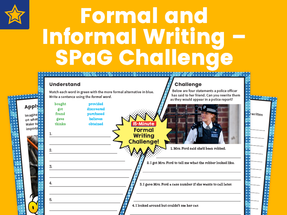 Formal and Informal Writing – SPaG Challenge Mat