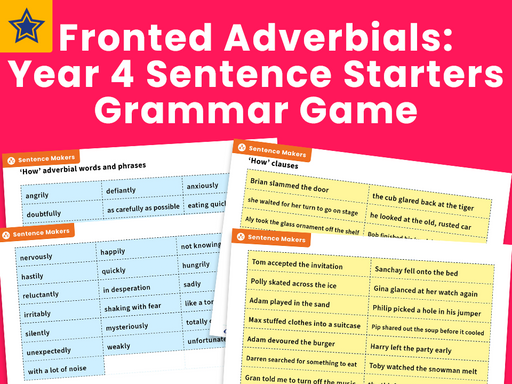 Fronted Adverbials: Year 4 Sentence Starters Grammar Game