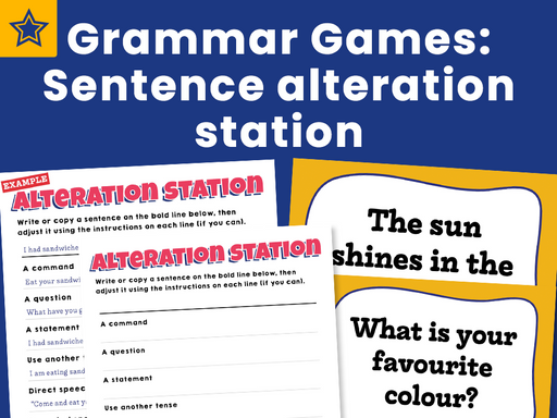Grammar Games Sentence alteration station
