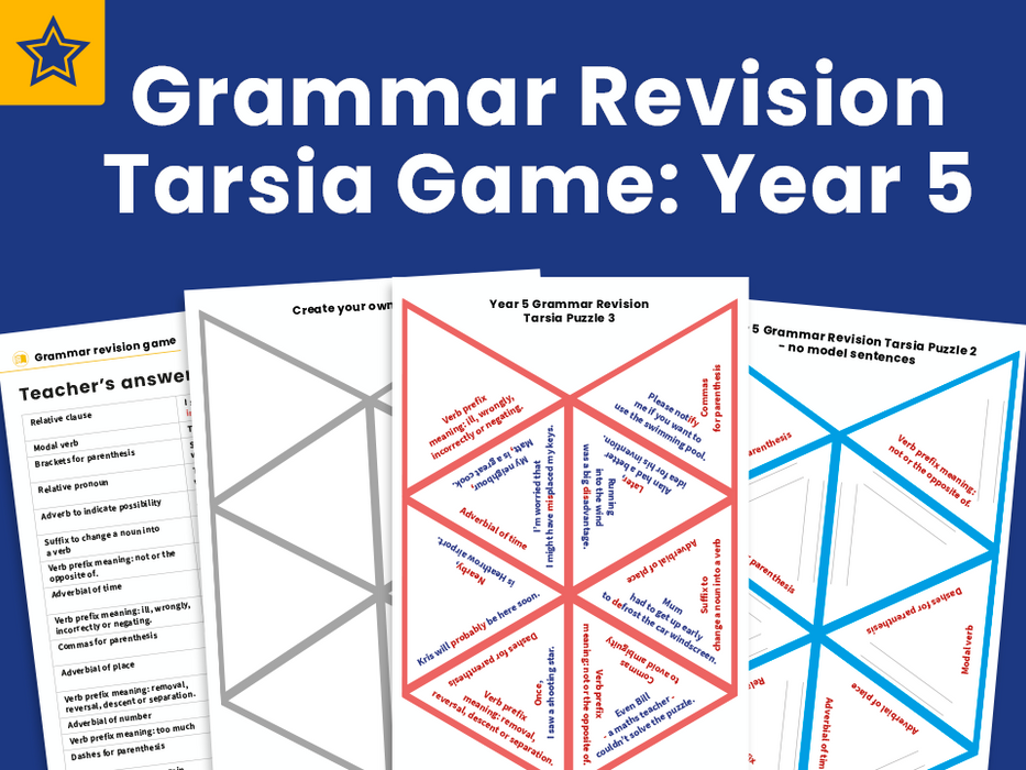 Grammar Revision Tarsia Game : Year 5