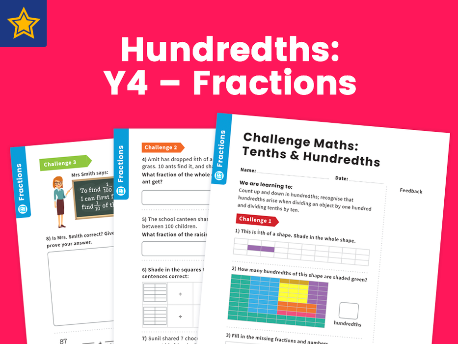 Hundredths: Y4 – Fractions – Maths Challenge