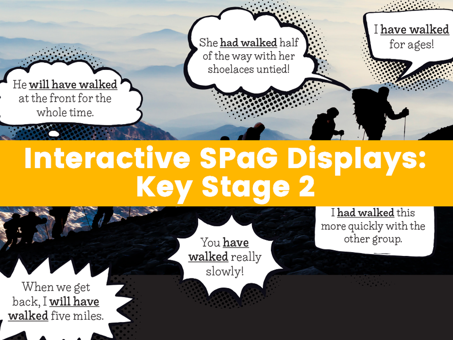 Interactive SPaG Displays: Upper Key Stage 2 – Expanded Noun phrases, Modal Verbs, Passive Voice, Perfect Verb form, Relative Clauses, Subjunctive Form
