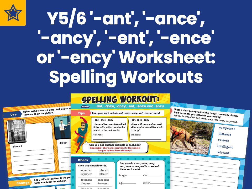Years 5 And 6 '-ant', '-ance', '-ancy', '-ent', '-ence' or '-ency' Worksheet: Spelling Workouts
