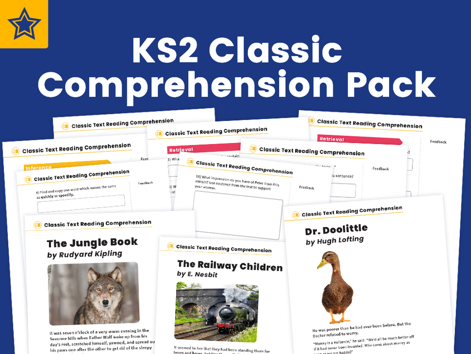 KS2 Classic Text Reading Comprehension Worksheets: The Jungle Book, the Railway Children, Doctor Doolittle