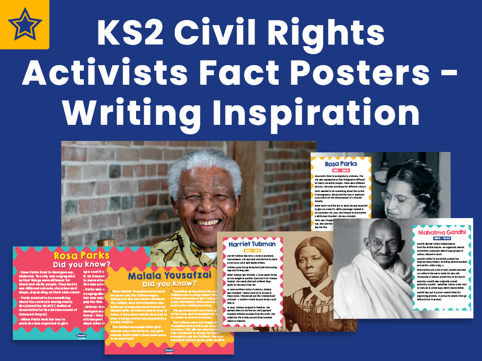 KS2 Civil Rights Activists Fact Posters - Writing Inspiration