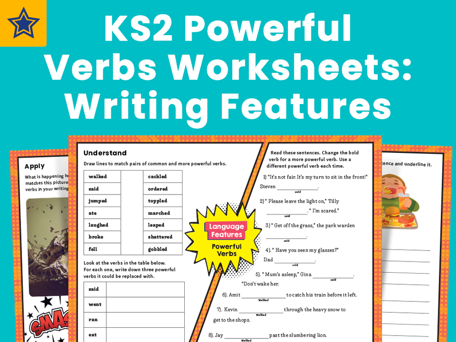 KS2 Powerful Verbs Worksheets Writing Features