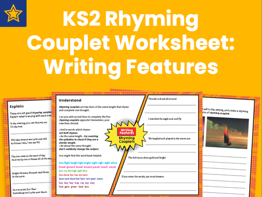 KS2 Rhyming Couplet Worksheet: Writing Features