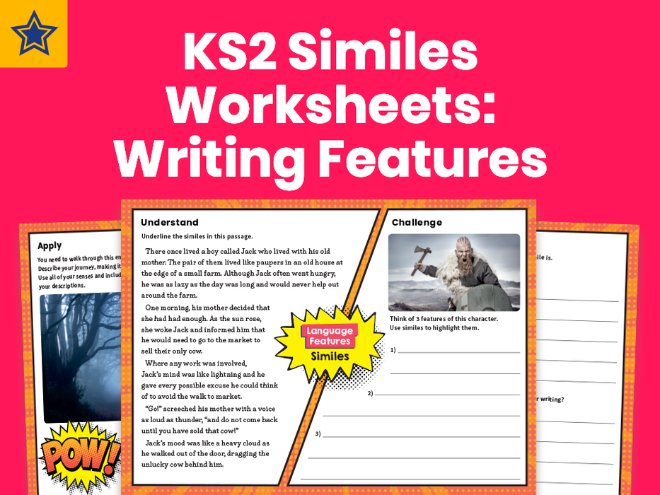 KS2 Similes Worksheets: Writing Features