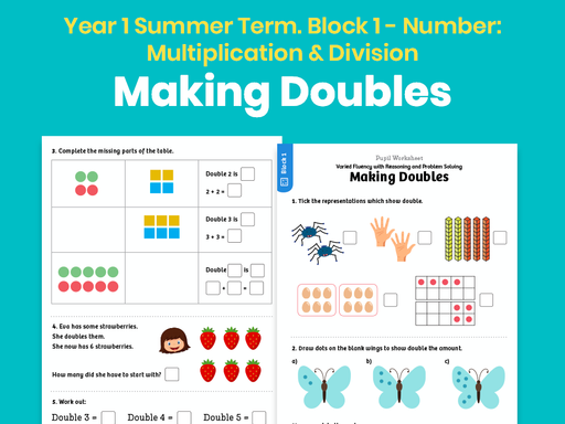 Y1 Summer Term – Block 1: Making doubles maths worksheets