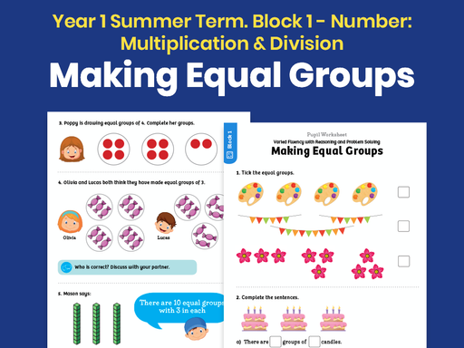 Y1 Summer Term – Block 1: Making equal groups maths worksheets