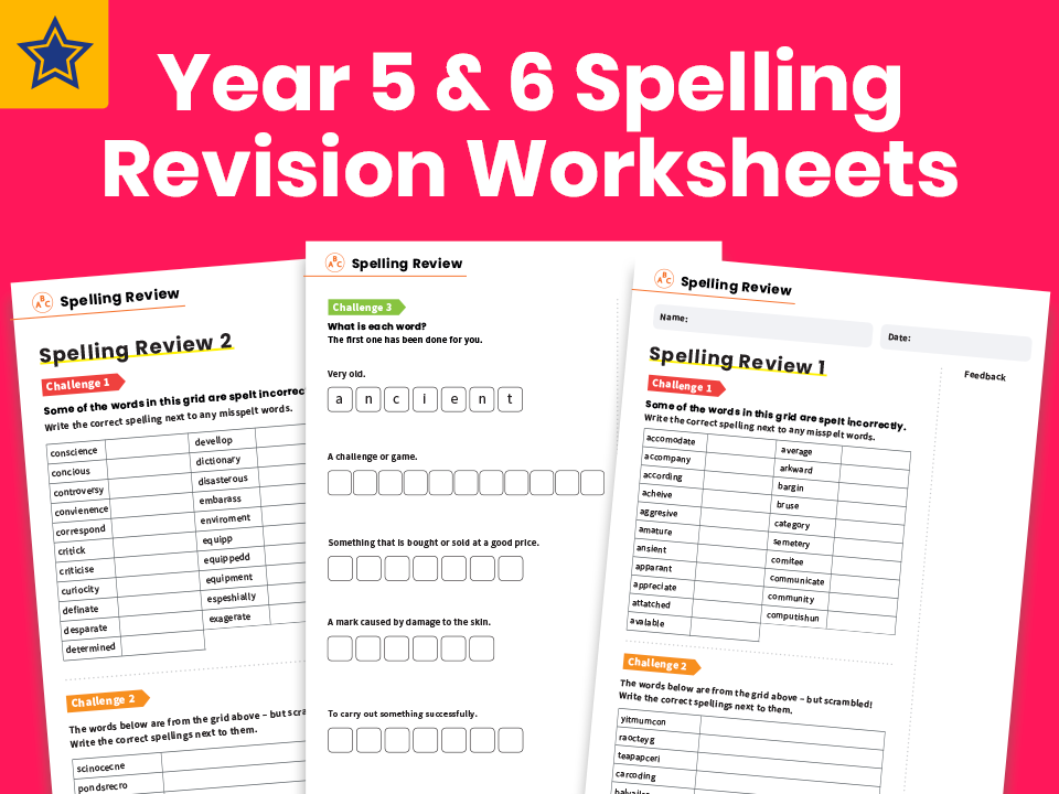 Year 5 and 6 Spelling Revision Worksheets