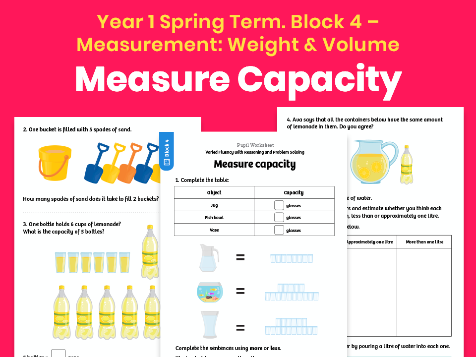 Y1 Spring Term – Block 4: Measure capacity maths worksheets