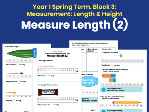 Y1 Spring Term – Block 3: Measure length (2) maths worksheets